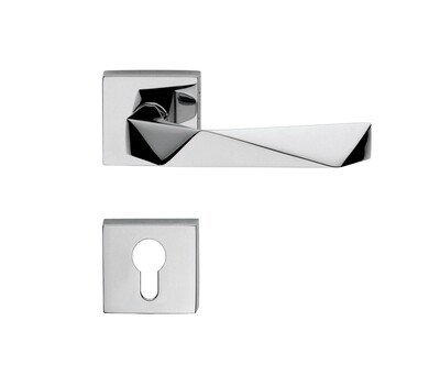 Lever Handle Lux. 02 On Vis Square Rose w/cyl.hole Esc.chrome