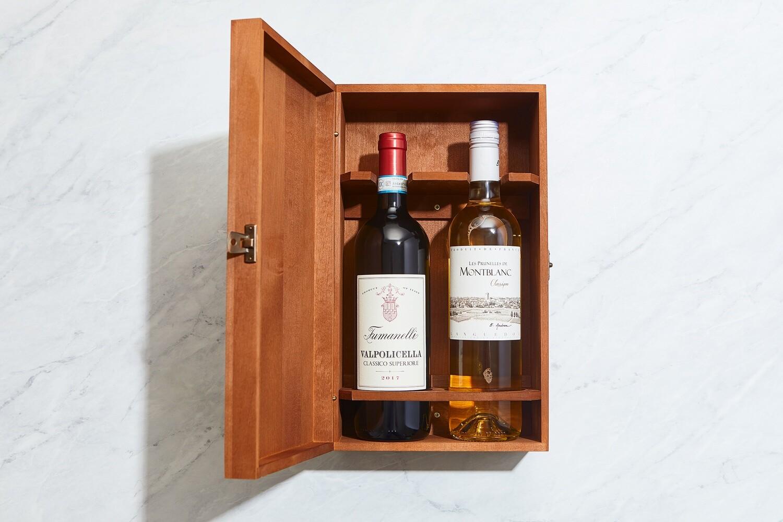 Double Bottle Wooden Wine Gift Box- Dark