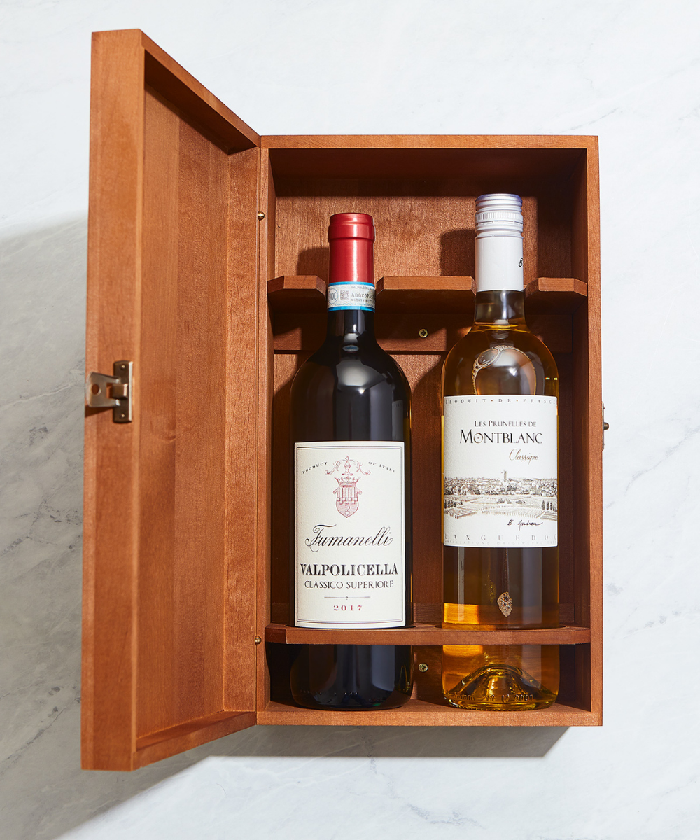 Double Bottle Wooden Wine Gift Box- Dark