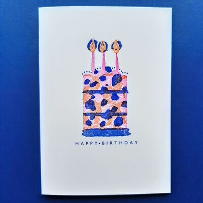 'Happy Birthday Cake' Greetings Card by the Thundercliffe Press