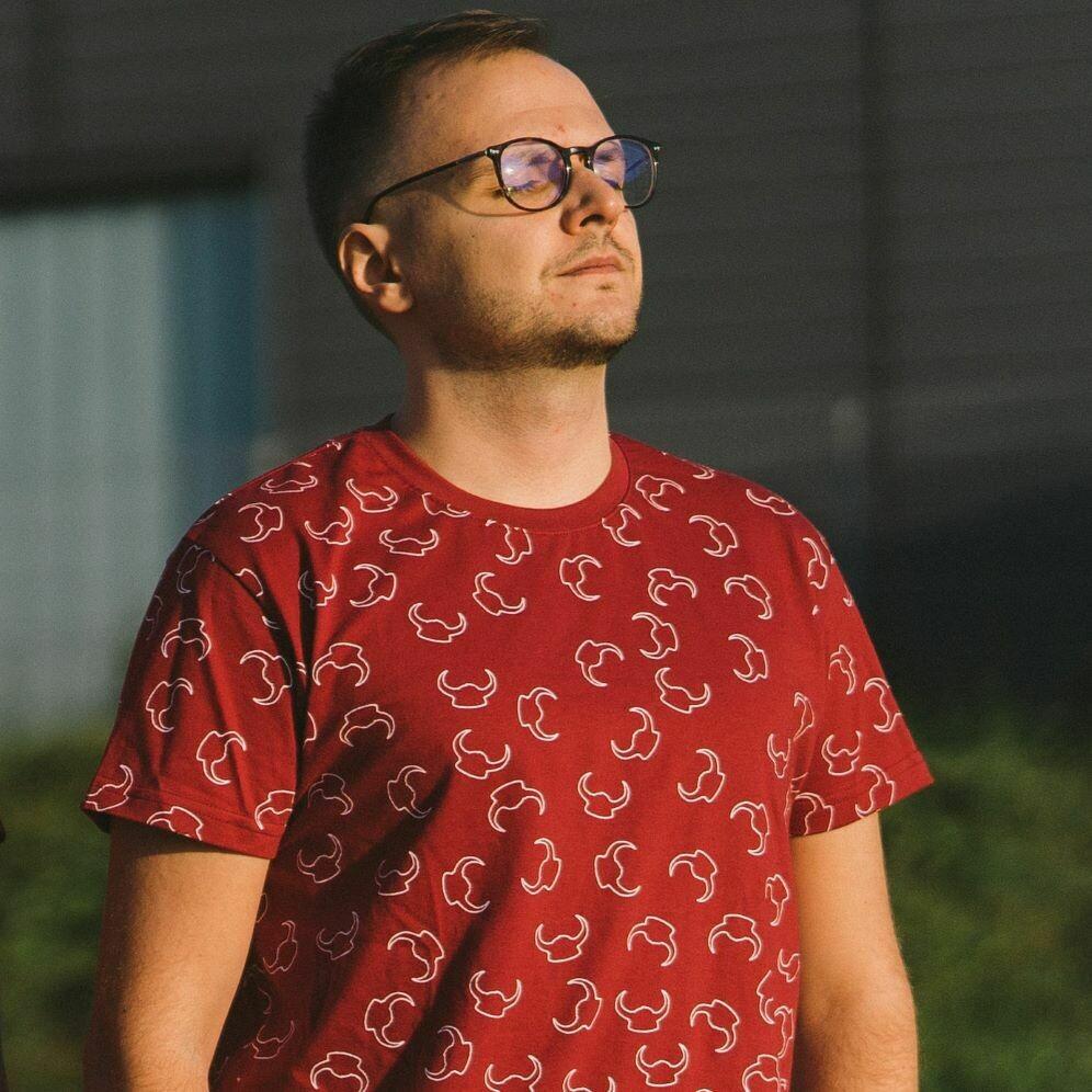 "T-Shirt ""Pattern"" bordowy męski"