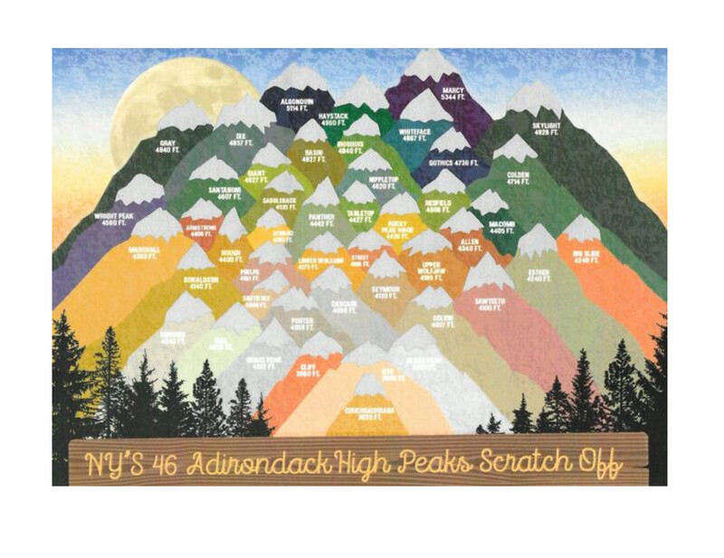 "NY'S 46 Adirondack High Peaks Scratch Off  5"" X 7"""