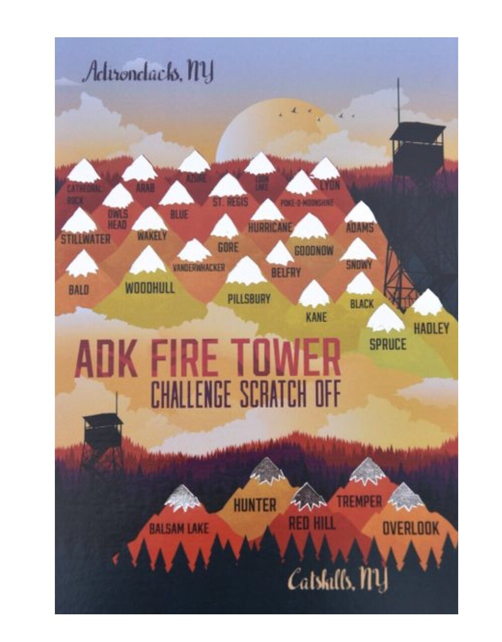 "ADK Fire Tower Challenge Scratch Off. 5"" X 7"""