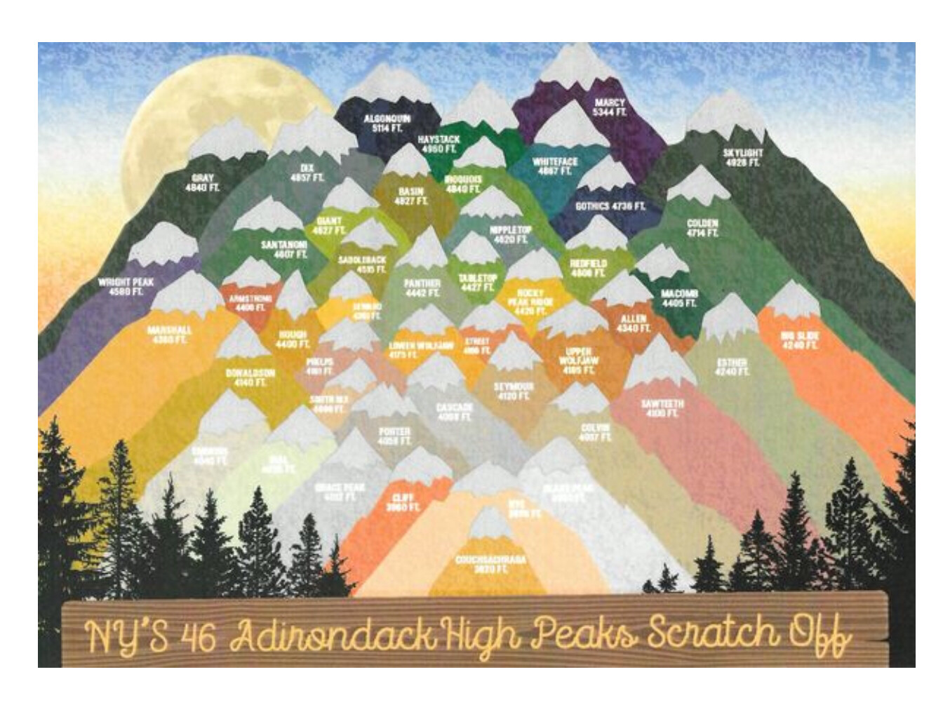 "NY'S 46 Adirondack High Peaks Scratch Off  11"" X 14"""