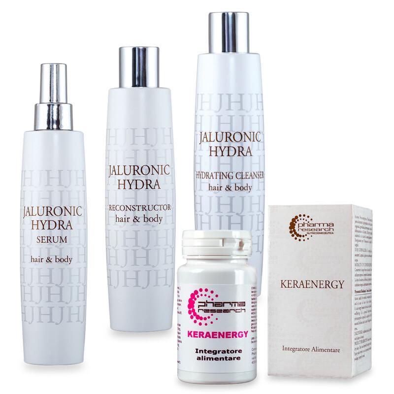 Trattamento secchezza dei capello sottile: JH Hydrating Cleanser + JH Hydra Reconstructor + JH Serum + Integratore Keraenergy