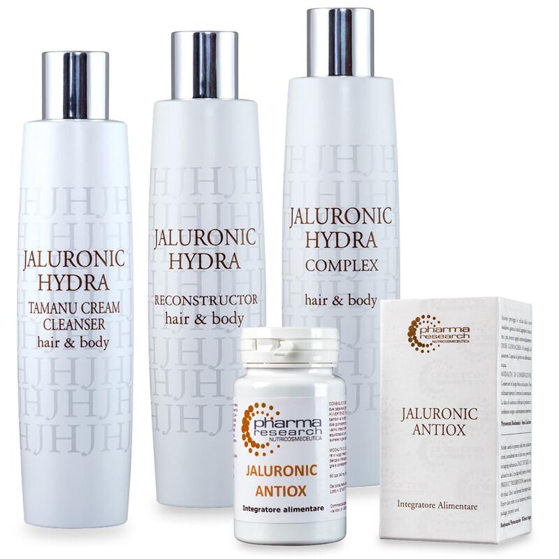Trattamento secchezza capello grosso: JH Tamanu Cream Cleanser + JH Hydra Reconstructor + JH Complex + Integratore Jaluronic Antiox