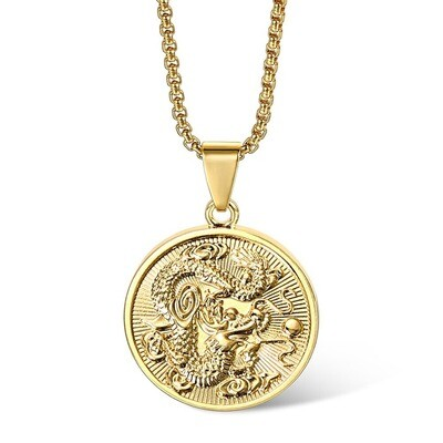 New Vintage Gold Color Round Chinese Ethnic Zodiac