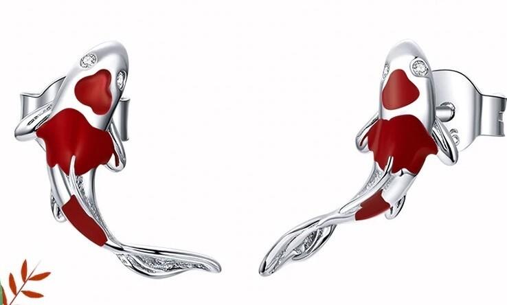 Fish Red Enamel Stud Earrings