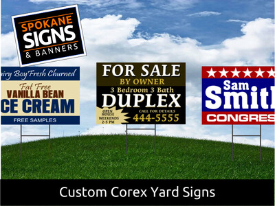 Set of 12 Corex Yard Signs with Optional Wire Stakes