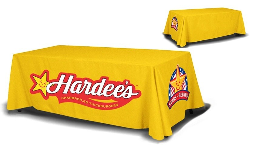 Custom Printed Fabric Table Throw Cover, 6ft or 8ft