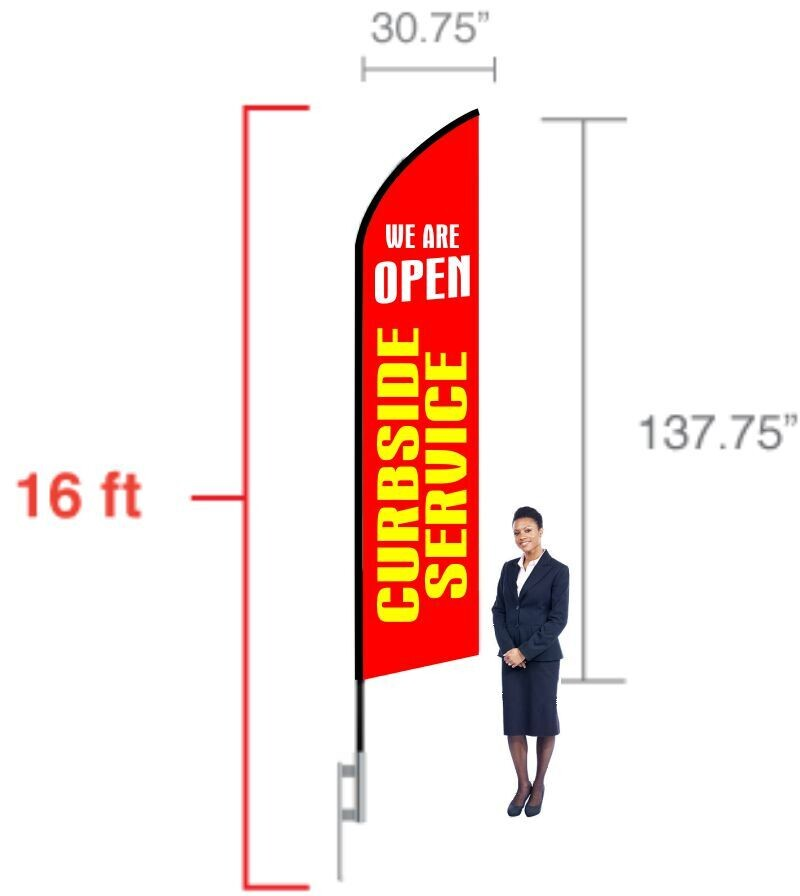 16 Ft Feather Flag - Printed One Side Only
