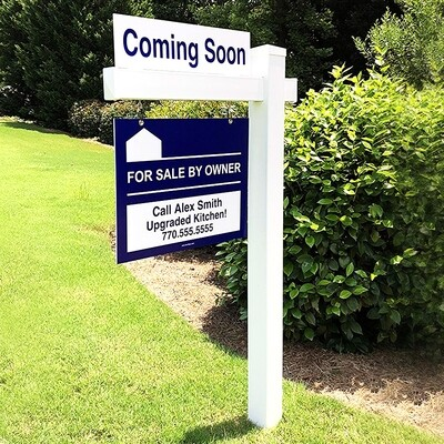 Real Estate Yard Arm Post & Printed Sign Combo - Two Sizes