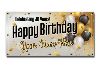 Custom Birthday or Anniversary Banners - 13oz Vinyl Scrim - Next Day Printing - Free Overnight Shipping