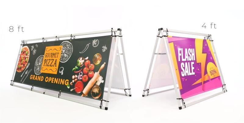 Portable A-Frame Banner Indoor or Outdoor Display - 4ft or 8ft
