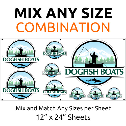 Contour Cut UV Custom Stickers - Any Size on 12 inch by 24 inch Sheets