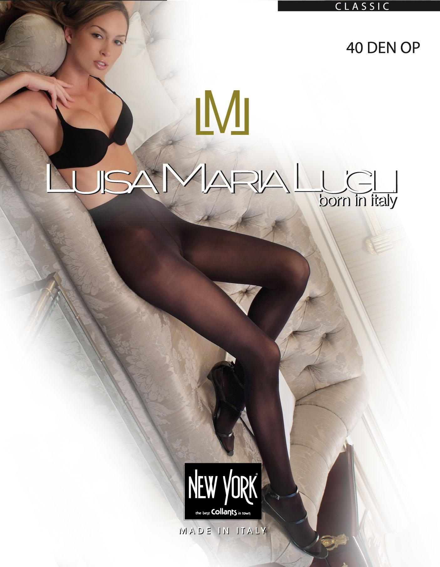 Luisa Maria Lugli Silky SHEER Well 20 Pantyhose Double Cover Black Tights L