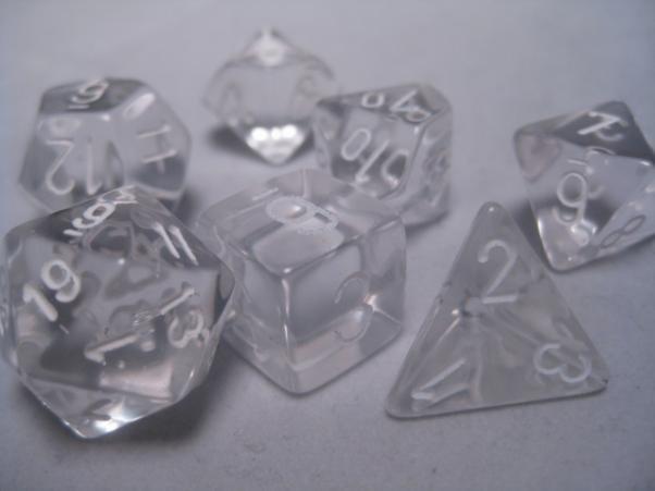 Polyhedral 7-die RPG Set: Translucent, Clear / White (Chessex)