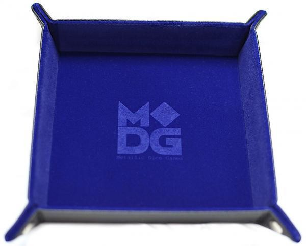 Folding Dice Tray: Velvet with Leather Backing - Blue