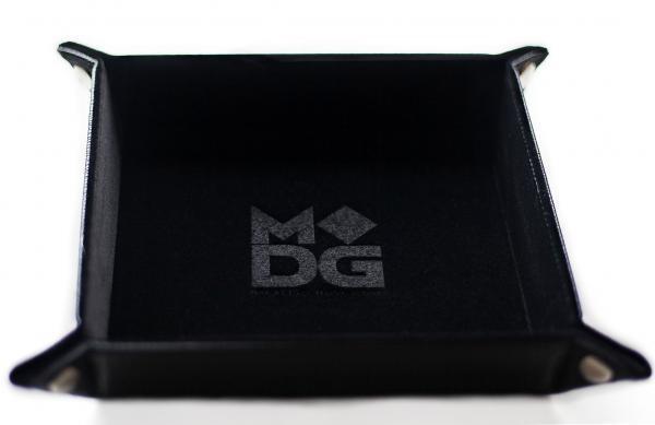 Folding Dice Tray: Velvet with Leather Backing - Black