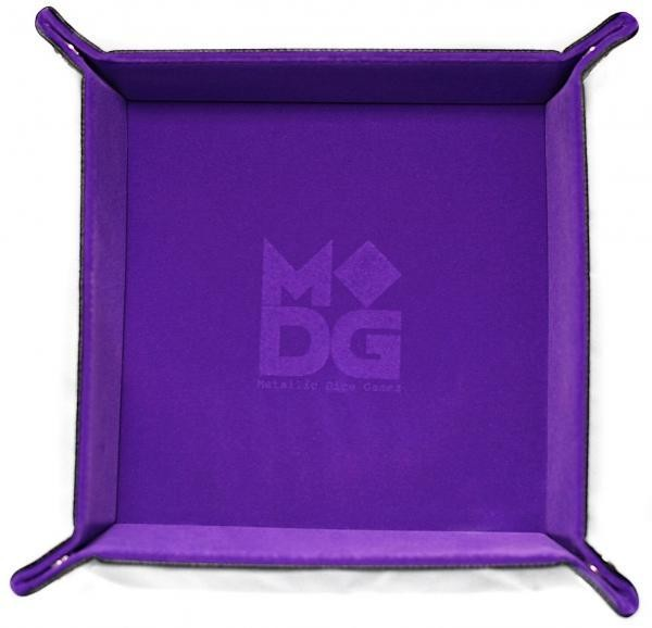 Folding Dice Tray: Velvet with Leather Backing - Purple