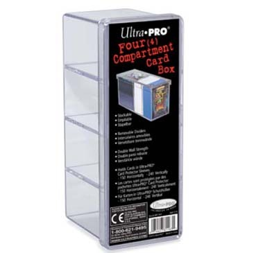 Ultra-Pro Card Box, 4 Compartment, Clear