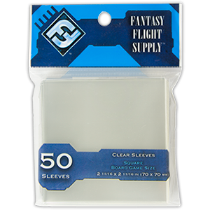 Card Sleeves: Square Board Game Size 2 11/16 x 2 11/16 (70x70mm), 50pk Light Blue Label