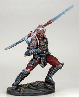 Visions in Fantasy: Male Dark Elf Warrior with Double Bladed Sword