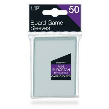 Ultra-Pro Deck Protector Card Sleeves, Board Game Mini Euro Size (44mm x 68mm), Clear, 50/pk