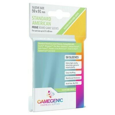 Prime Board Game Card Sleeves: Standard American - Green Label, 50/pk