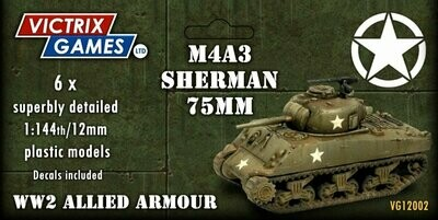 12mm: WWII - Sherman M4A3 75mm (x6)