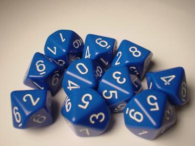 d10 Opaque - Blue / White