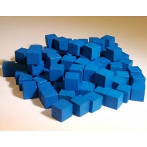 Wooden Cube, 8mm Blue