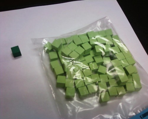 Wooden Cube, 10mm Light Green