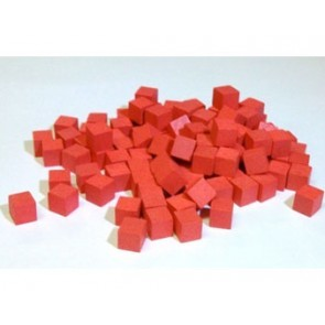 Wooden Cube, 10mm Red