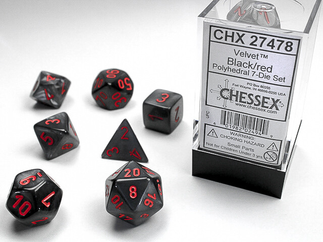 Polyhedral 7-die RPG Set (Chessex), Velvet - Black / Red