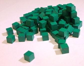 Wooden Cube, 10mm Green