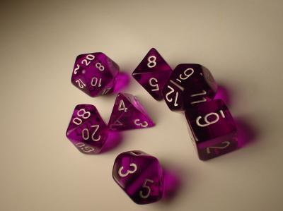 Polyhedral 7-die RPG Set: Translucent, Purple / White (Chessex)