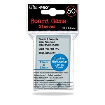 Ultra-Pro Deck Protector Card Sleeves, Board Game Mini American Size (41mm x 63mm), Clear, 50/pk