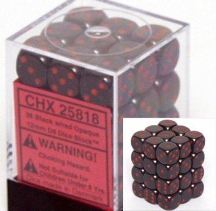12mm d6 Opaque - Black / Red (36ct / block)