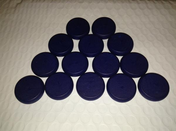 Crokinole: Standard Wood Discs (14) - Dark Blue