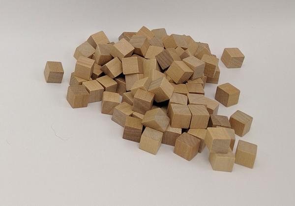 Wooden Cube, 10mm Natural Grain