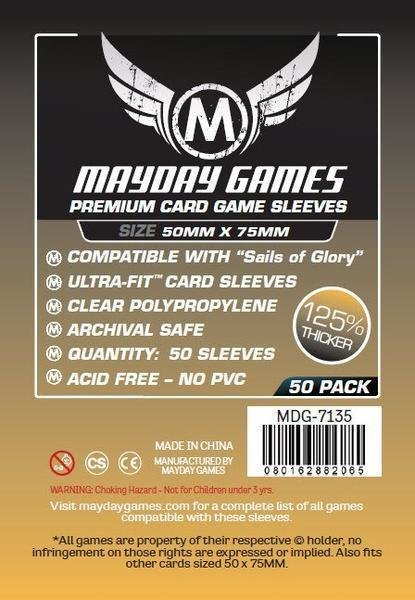 """Sails of Glory"" Premium Card Sleeves, Clear (50/pack) 50 X 75 MM"