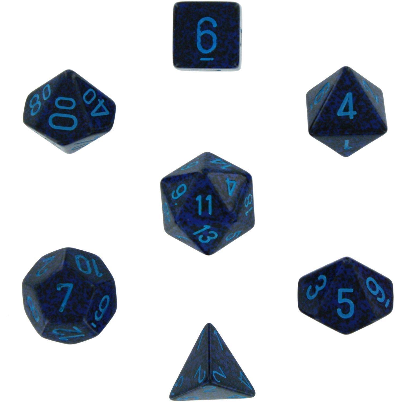 Polyhedral 7-die RPG Set (Chessex) (Speckled, Cobalt)