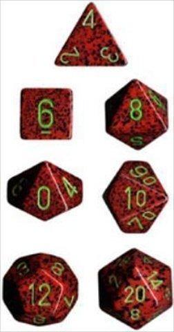 Polyhedral 7-die RPG Set (Chessex) (Speckled, Strawberry)