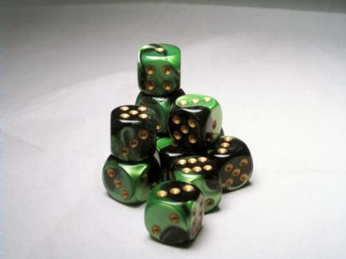 16mm d6 - Black/Green-Gold Gemini