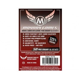 Mini Chimera Sleeves, Dark Red Label Premium Clear (50/pack) 43 X 65 MM