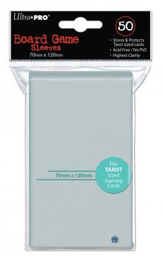 Ultra-Pro Deck Protector Card Sleeves, Board Game Tarot Card Size (70mm x 120mm), Clear, 50/pk