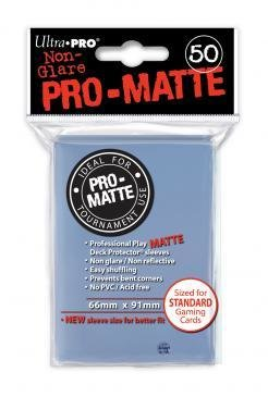 Ultra-Pro Deck Protector Card Sleeves, PRO-MATTE Standard Size (66mm x 91mm), Clear, 50/pk