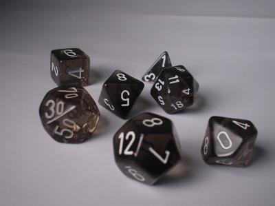 Polyhedral 7-die RPG Set: Translucent, Smoke / White (Chessex)