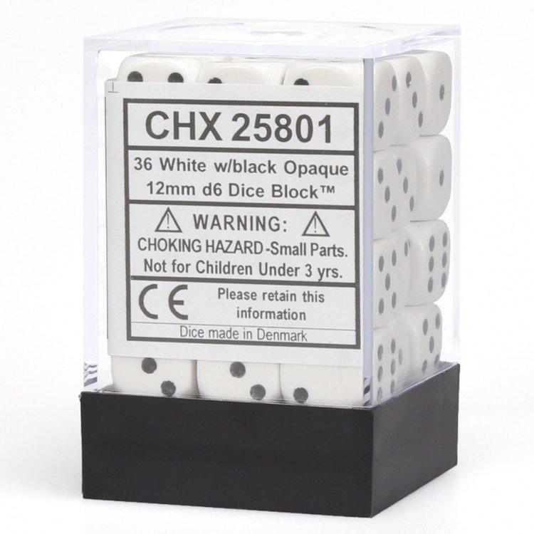 12mm d6 Opaque - White / Black (36ct / block)